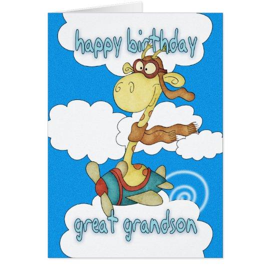 Great Grandson Aeroplane / Aeroplane Giraffe Card