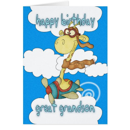 Great Grandson Aeroplane / Airplane Giraffe Birthd Greeting Cards