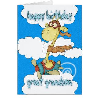 Great Grandson Aeroplane / Airplane Giraffe Birthd Greeting Card