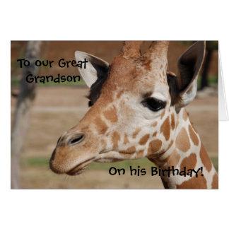 Great Grandson Birthday Card with Giraffe