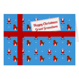 Great Grandson blue Christmas parcel Greeting Card