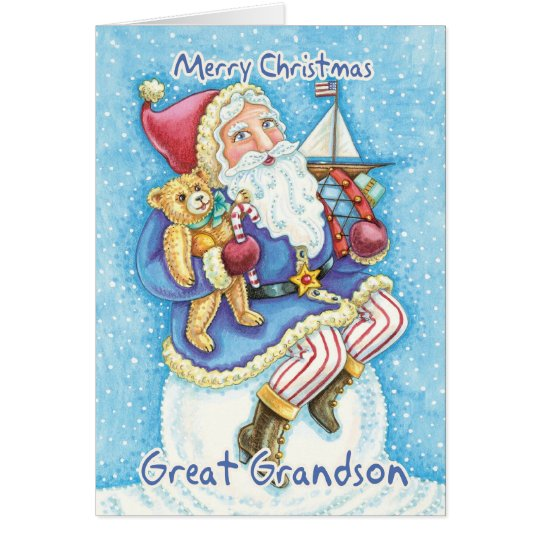 Great Grandson Christmas Card With Cute Santa And