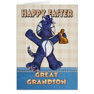 Great Grandson Easter Card - Denim Dragon Chocolat