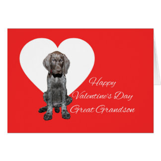 Great Grandson Glossy Grizzly Valentine Puppy Love Greeting Card