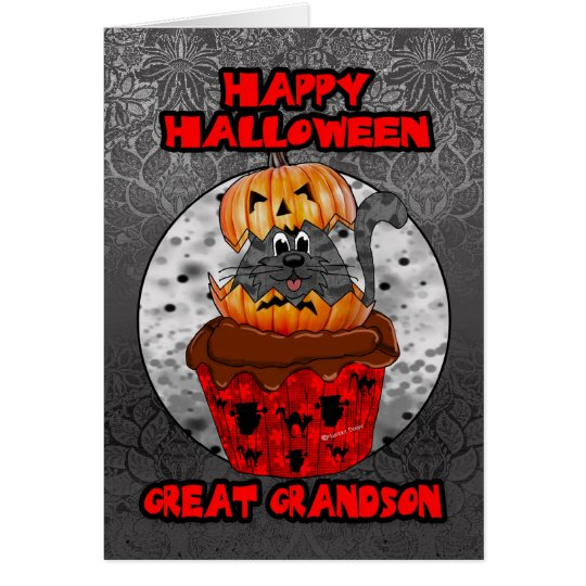 great grandson halloween cupcake cat card