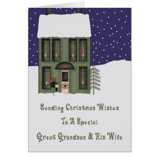 Great Grandson & Wife Primsy House Christmas Greeting Card