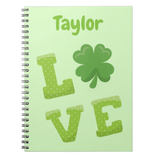 Great Green Love Personalise St Patricks Theme Notebooks