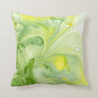Great Greens Abstract Watercolor Throw Pillow Throw Cushion