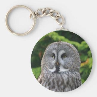 Great Grey Owl Basic Round Button Key Ring