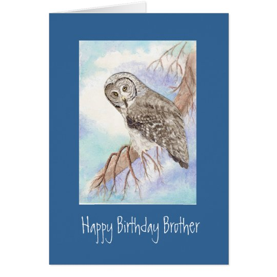 Great Grey Owl Brother Birthday Card
