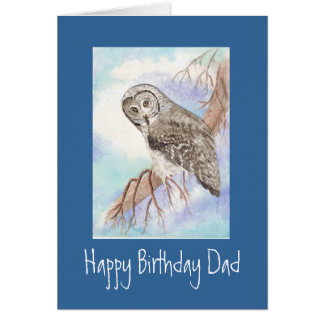 Great Grey Owl Dad Birthday Card