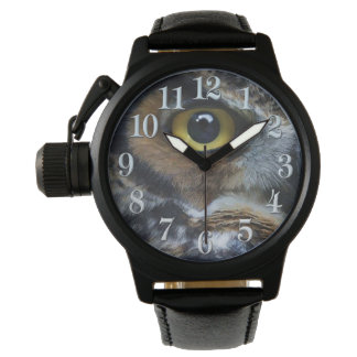 Great Grey Owl Eye Wildlife Raptor Photo Watches
