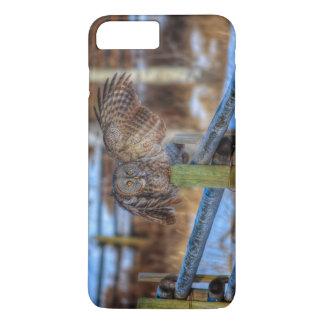 Great Grey Owl & Fence Wildlife Photo Portrait iPhone 7 Plus Case