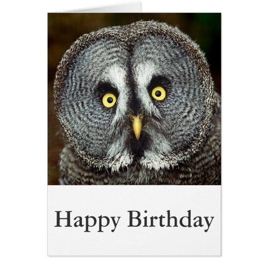 Great Grey Owl - Happy Birthday Card
