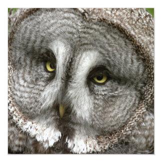 """Great Grey Owl Invitations 5.25"""" Square Invitation Card"""