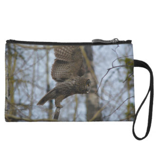 Great Grey Owl Launching in Forest Photo Wristlet Clutch