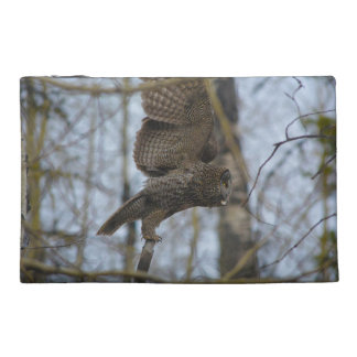 Great Grey Owl Launching in Forest Photo Travel Accessory Bags