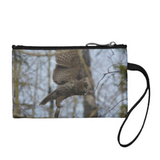 Great Grey Owl Launching in Forest Photo Coin Wallets