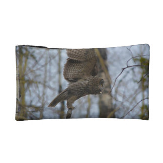 Great Grey Owl Launching in Forest Photo Makeup Bag