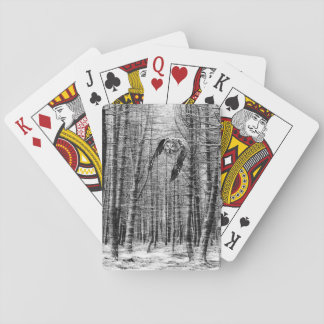 Great grey owl playing cards