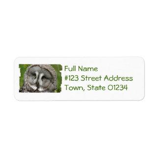 Great Grey Owl Return Address Mailing Label Return Address Label