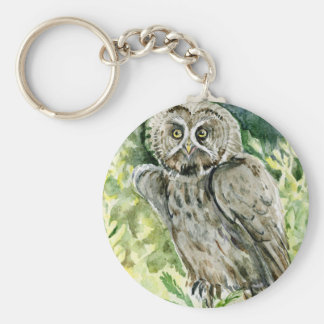 Great Grey Owl watercolor Basic Round Button Key Ring