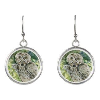 Great grey owl watercolor earrings