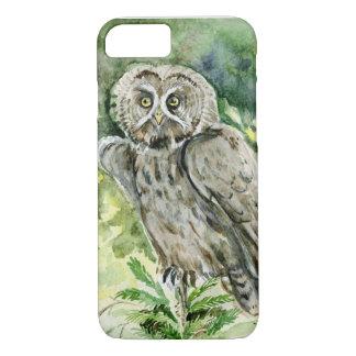 Great Grey Owl watercolor iPhone 7 Case