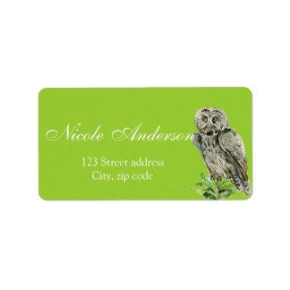 Great grey Owl watercolor Address Label