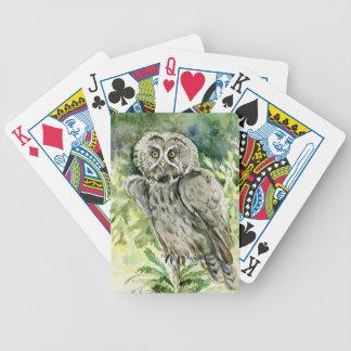 Great Grey Owl watercolor Card Decks