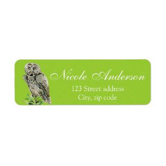Great grey Owl watercolor Return Address Label