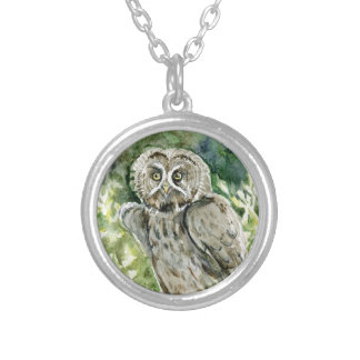 Great Grey Owl watercolor Silver Plated Necklace