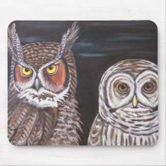 Great Horned Barred Owls Mouse Pads