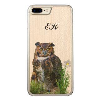Great Horned Owl and Flower, Monogram Carved iPhone 7 Plus Case