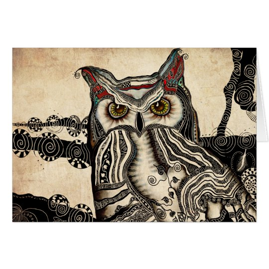 Great Horned Owl Blank Greeting Card