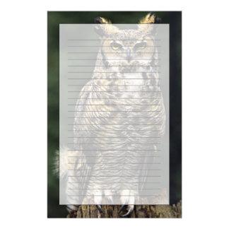 Great Horned Owl (Bubo virginianus), full body Stationery Design