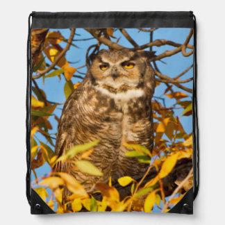 Great Horned Owl (Bubo Virginianus) Sleeping Drawstring Bag