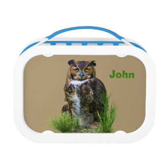 Great Horned Owl, Customizable Name Lunch Box