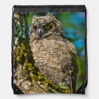 Great Horned Owl Drawstring Bag
