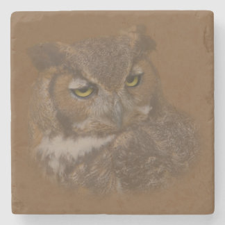 Great Horned Owl Faded on Background Stone Coaster