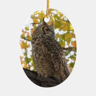 Great Horned Owl in a Tree Christmas Ornament