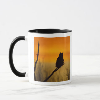 Great Horned Owl perched at sunset Mug