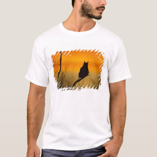 Great Horned Owl perched at sunset T-Shirt