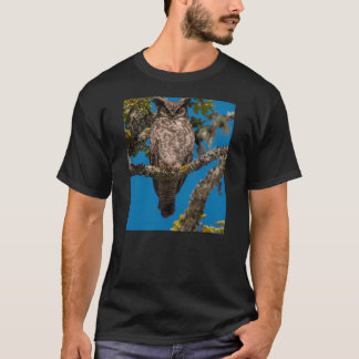 Great Horned Owl perched on a Garry Oak T-Shirt