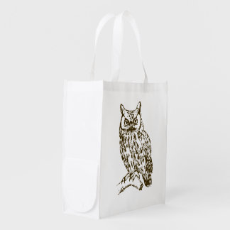 Great Horned Owl Reusable Grocery Bag