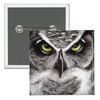 Great Horned Owl Tiger Owls Charcoal Drawing 15 Cm Square Badge