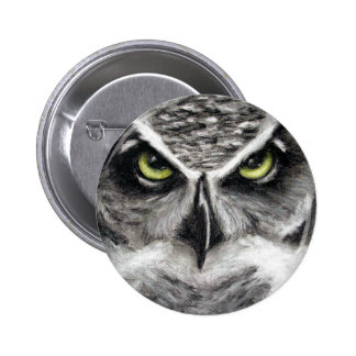 Great Horned Owl Tiger Owls Charcoal Drawing 6 Cm Round Badge