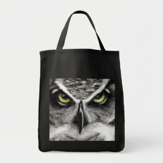 Great Horned Owl Tiger Owls Charcoal Drawing Grocery Tote Bag