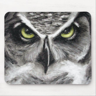 Great Horned Owl Tiger Owls Charcoal Drawing Mouse Mat