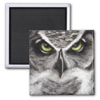 Great Horned Owl Tiger Owls Charcoal Drawing Square Magnet